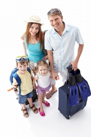 A happy family going on holiday on a white background