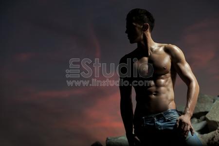 Good looking bodybuilder posing
