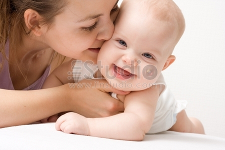 Mothers love, Cute baby 5 month with mother