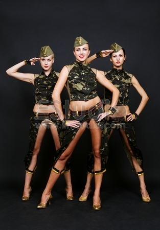 Three Dancers In Military Uniform Over Dark Background