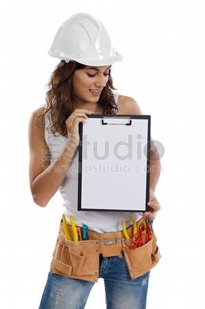 Young Girl with tools for building and a empty poster