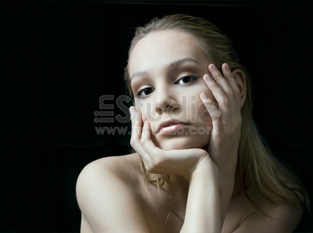 the beauty girl photo image over black background