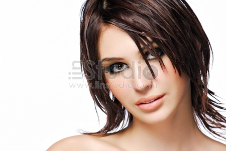 Portrait of attractive female teen with modern creativity hairstyle