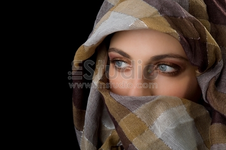 Beauty portrait of a young woman with veil
