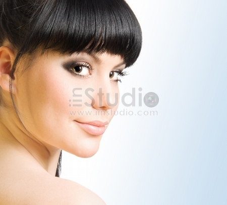 Studio portrait of a beautiful brunette