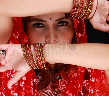 Portrait of a middle eastern dancing beauty with sexy eyes staring at you