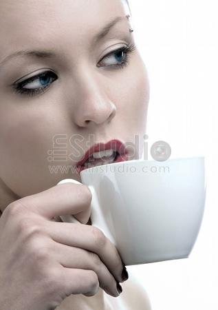 beauty lady is drinking coffee