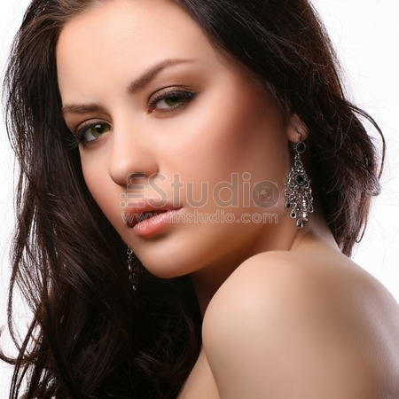 portrait of beautiful woman isolated on white