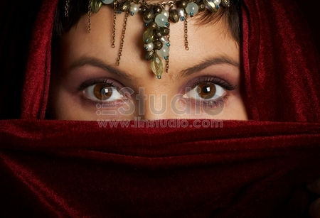 Mysterious eastern woman with beautiful eyes.