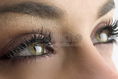 close up on the eyes of a young woman