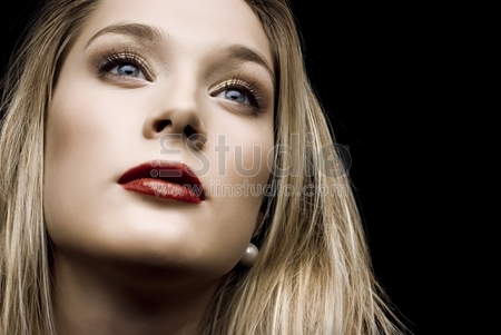 Portrait of young sensuality woman with beautiful pretty face