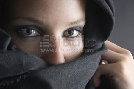 arabian woman with black veil