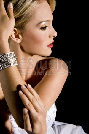 Gorgeous woman wearing a diamond bracelet