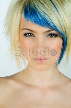 beauty portrait of teen girl with interesting hair