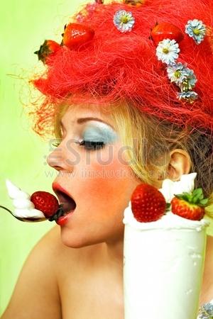 """Strawberry&qu ot; girl eating whipped cream"