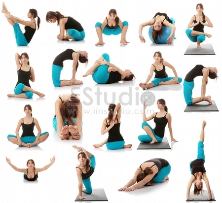 Beautiful young woman doing yoga exercise , isolated