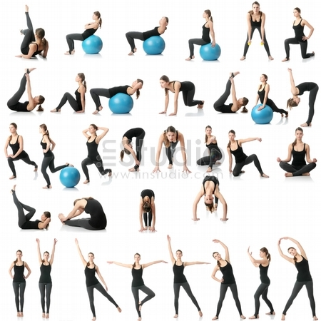 Young woman exercising collage - yoga,fitness,pilate s,aerobics with dump bells and ball