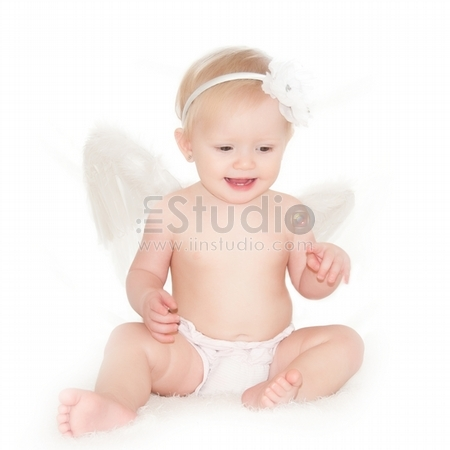 Cute Little Angel Isolated On White