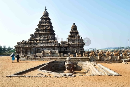 Mahabalipuram - Monolithic temples of the Shore Temple Mahabalipuram in the Tamil Nadu region of southern India