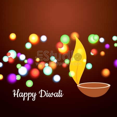 Colorful Diwali Diya Free Vector
