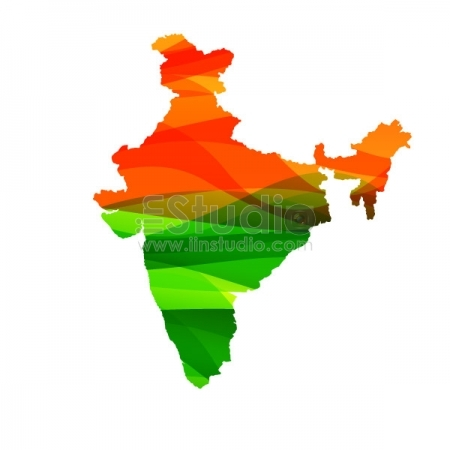 Indian Map In Colors Free Vector