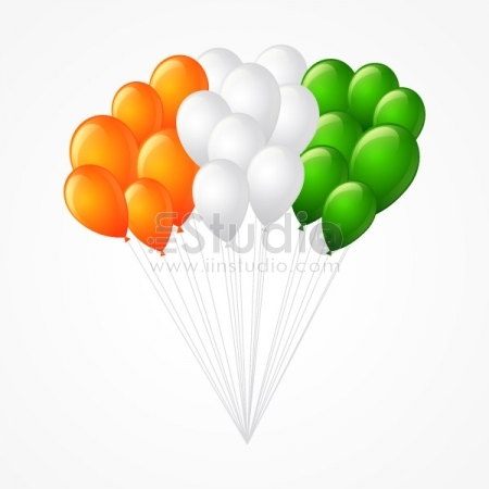 Bunch Of Balloons Forming Indian Flag Free Vector