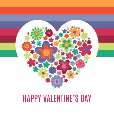 Valentine's Day Greetings - heart of flowers
