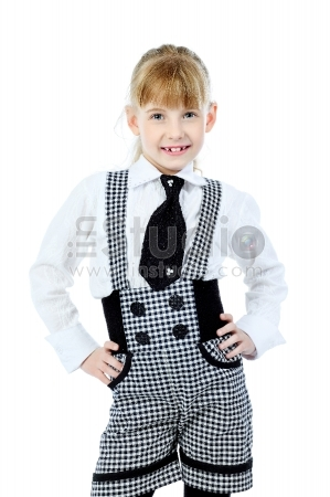 Shot of a little girl in a suit. Isolated over white background