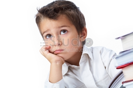 Photo of pensive youngster concentrated on something