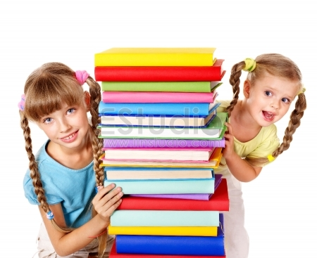 Children reading pile of book - Isolated