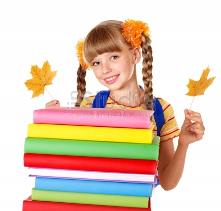 Girl holding autumn leaves and pile of books - Isolated