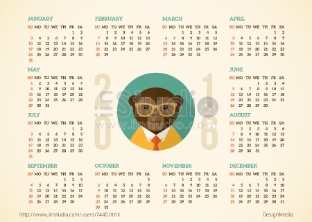 Free Calendar 2016 With Hipster Monkey Vector