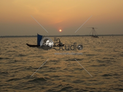 Sunset boat on the sea