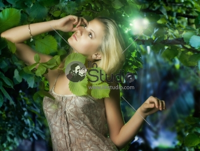Beautiful Girl inside Green