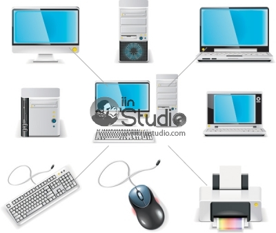 vector illustration of different computer icon in white background