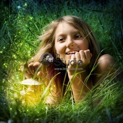 Girl with Magic Lamp at Night Miracle