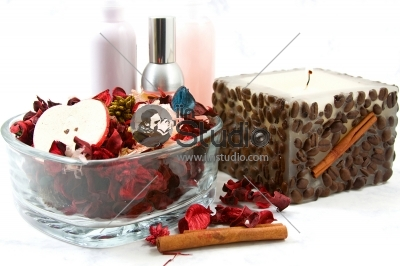 Close up on a candle, lotions and potpourri - Spa Scene