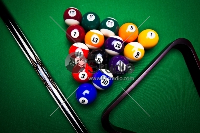 Billiard balls, table, stick