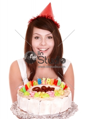 Happy young girl with cake