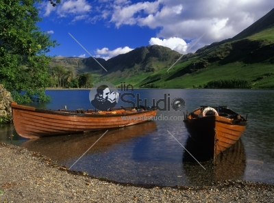 Boats Moared On Lake Buttermere England