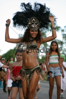 Woman participates in a carnival parade  in Kourou, French Guiana