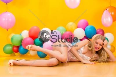 Girl lying on floor in sexy