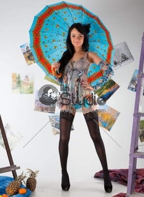 Model with Umbrella
