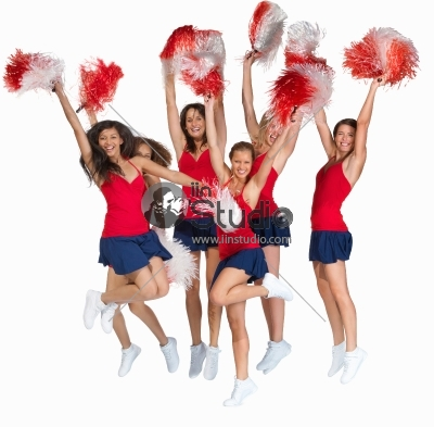 Happy Cheerleader Squad In Red Jumping In Victory
