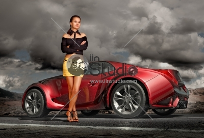 Girl and sports car