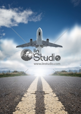 Runway Road and Flight Takeoff